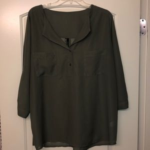 Sheer olive green top